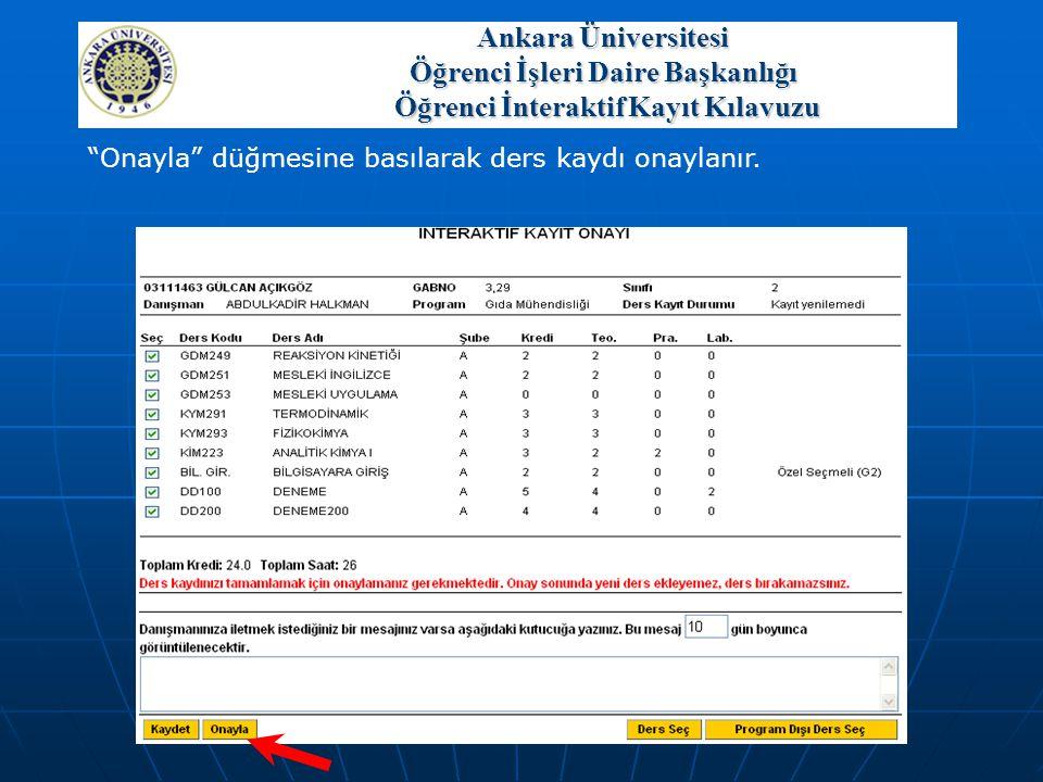 """""""Onayla"""" düğmesine basılarak ders kaydı onaylanır. Ankara Üniversitesi Öğrenci İşleri Daire Başkanlığı Öğrenci İnteraktif Kayıt Kılavuzu"""