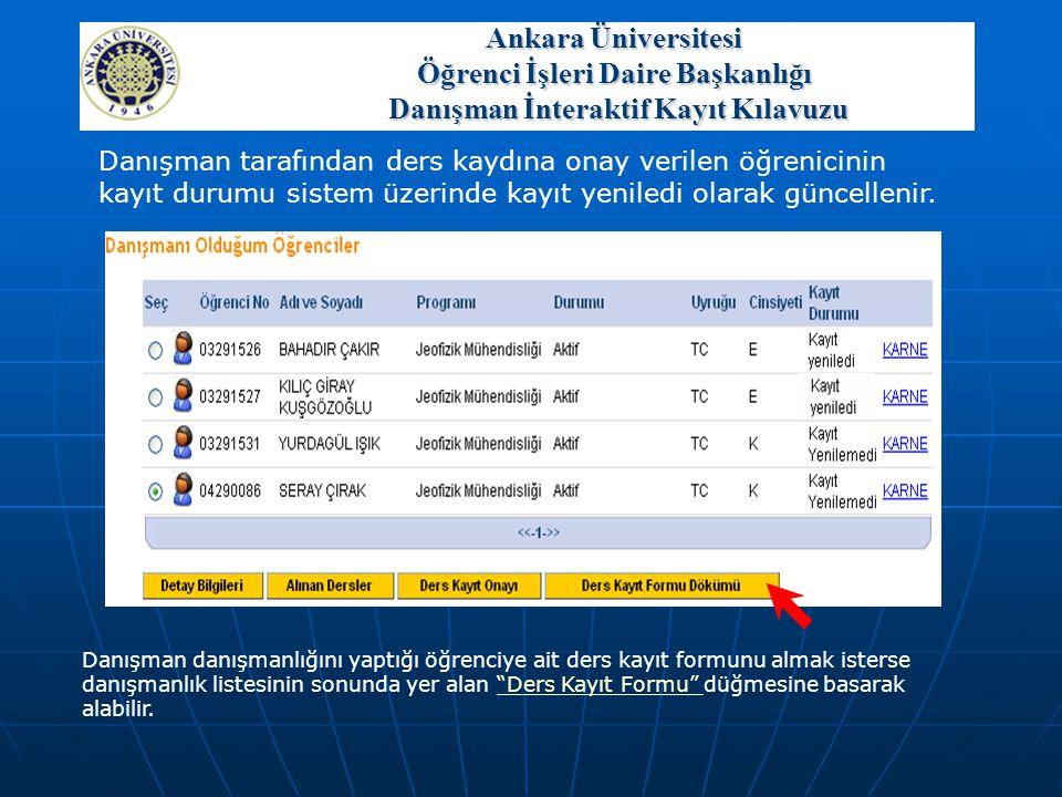 Danışman tarafından ders kaydına onay verilen öğrenicinin kayıt durumu sistem üzerinde kayıt yeniledi olarak güncellenir. Danışman danışmanlığını yapt