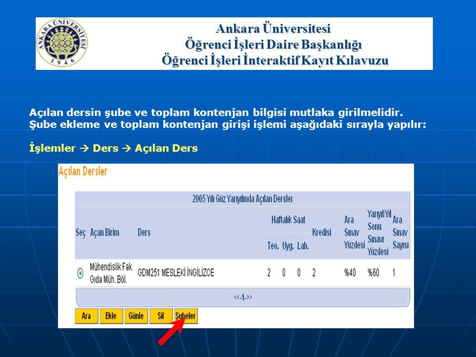 Ankara Üniversitesi Öğrenci İşleri Daire Başkanlığı Öğrenci İşleri İnteraktif Kayıt Kılavuzu Açılan dersin şube ve toplam kontenjan bilgisi mutlaka gi