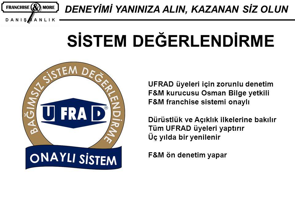 DENEYİMİ YANINIZA ALIN, KAZANAN SİZ OLUN SİSTEM DEĞERLENDİRME UFRAD üyeleri için zorunlu denetim F&M kurucusu Osman Bilge yetkili F&M franchise sistem