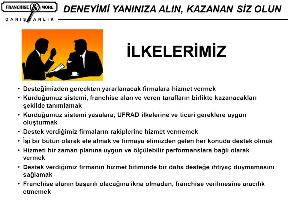DENEYİMİ YANINIZA ALIN, KAZANAN SİZ OLUN FRANCHİSE SİSTEM KURULUŞU K1-Franchise Pazarlama Franchise anlaşması, koşullar, tanıtım, yayılma, yer seçimi, aday seçimi, aday araştırma prosedürleri K2-El Kitapları Franchise verenin, franchise alanın, işletme çalışanlarının işleri ve prosedürleri K3-Eğitim ve Denetim Franchise veren, alan ve çalışanların eğitim programı, yöntemi, denetimi, puanlaması K4-Merkezi ve Yerel Tanıtım Merkezi reklam fonu, yerel tanıtım, açılış kampanyası, promosyonlar