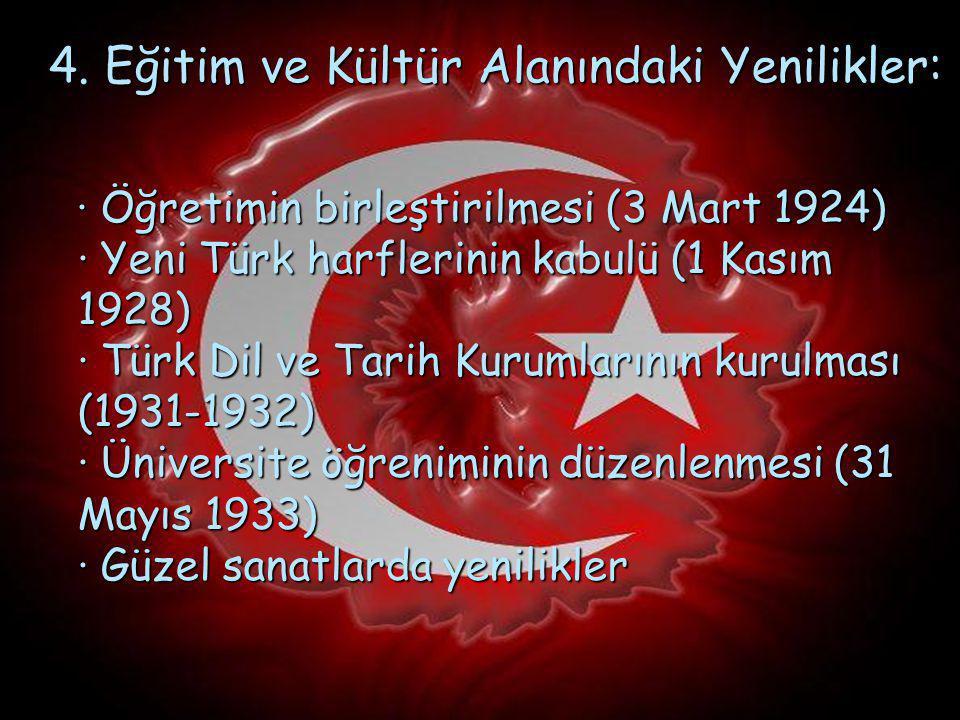 3. Hukuk Yeniliği : · Mecellenin kaldırılması (1924-1937) · Türk Medeni Kanunu ve diğer kanunların çıkarılarak laik hukuk düzenine geçilmesi (1924-193