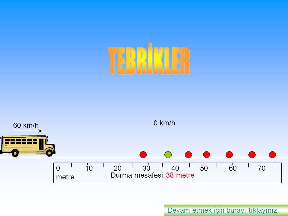 010203040506070 metre 38 metre Devam etmek için burayı tıklayınız. 60 km/h 0 km/h Durma mesafesi: