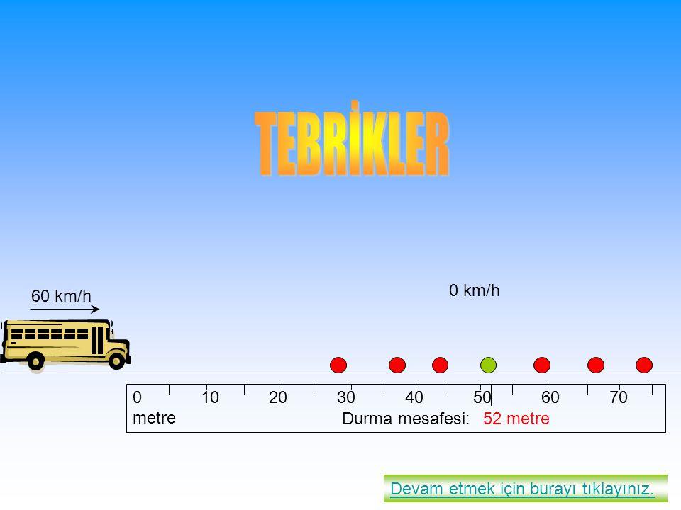010203040506070 metre 52 metre 60 km/h 0 km/h Devam etmek için burayı tıklayınız. Durma mesafesi: