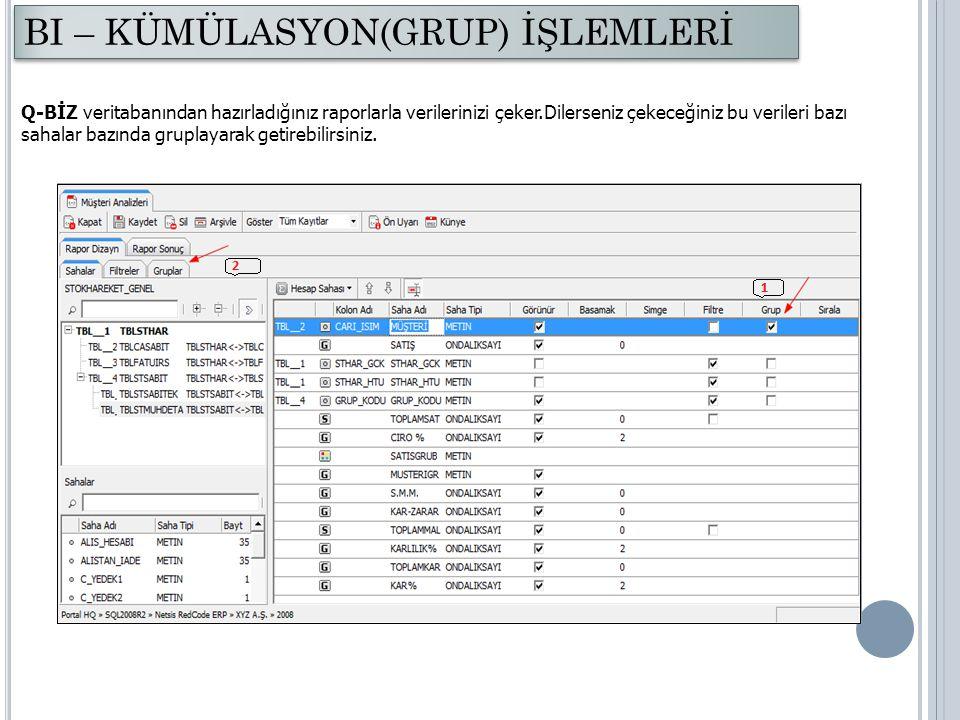 Q-BİZ veritabanından hazırladığınız raporlarla verilerinizi çeker.Dilerseniz çekeceğiniz bu verileri bazı sahalar bazında gruplayarak getirebilirsiniz