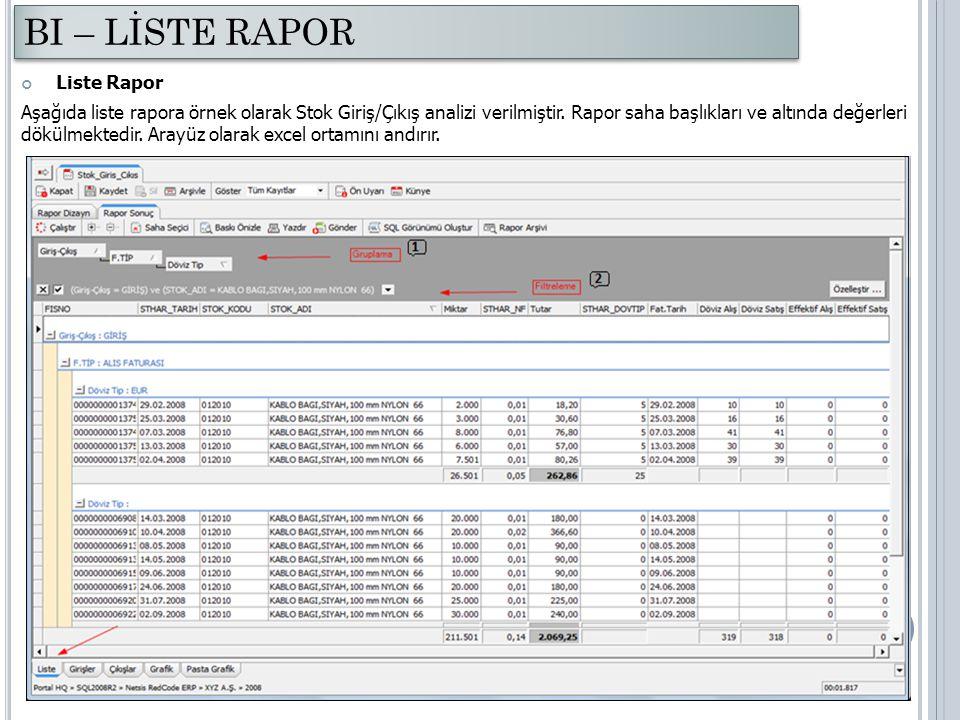 Liste Rapor Aşağıda liste rapora örnek olarak Stok Giriş/Çıkış analizi verilmiştir. Rapor saha başlıkları ve altında değerleri dökülmektedir. Arayüz o