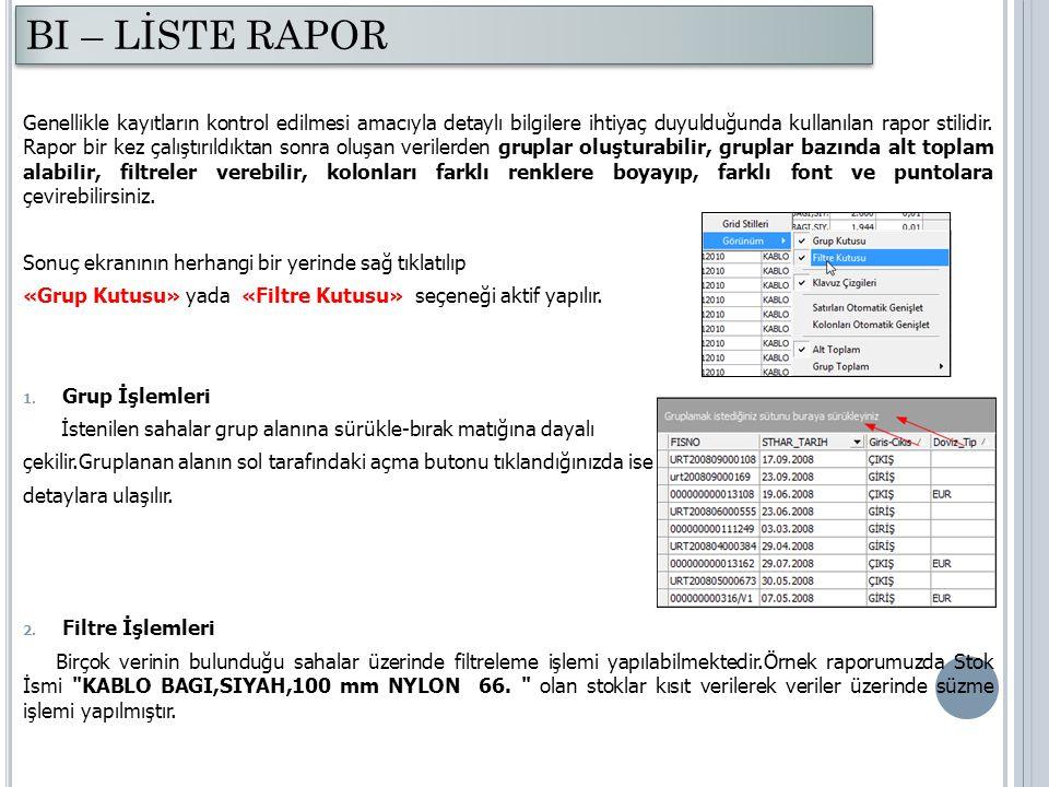 Genellikle kayıtların kontrol edilmesi amacıyla detaylı bilgilere ihtiyaç duyulduğunda kullanılan rapor stilidir. Rapor bir kez çalıştırıldıktan sonra