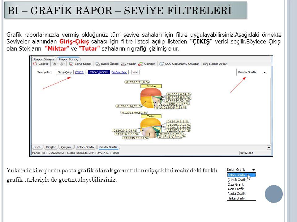 Grafik raporlarınızda vermiş olduğunuz tüm seviye sahaları için filtre uygulayabilirsiniz.Aşağıdaki örnekte Seviyeler alanından Giriş-Çıkış sahası içi