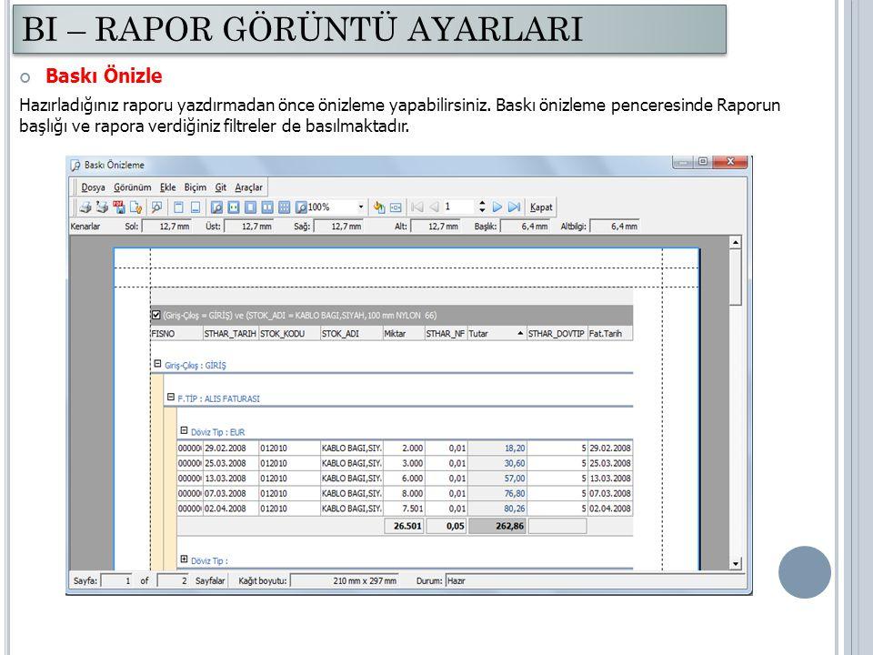 Baskı Önizle Hazırladığınız raporu yazdırmadan önce önizleme yapabilirsiniz. Baskı önizleme penceresinde Raporun başlığı ve rapora verdiğiniz filtrele