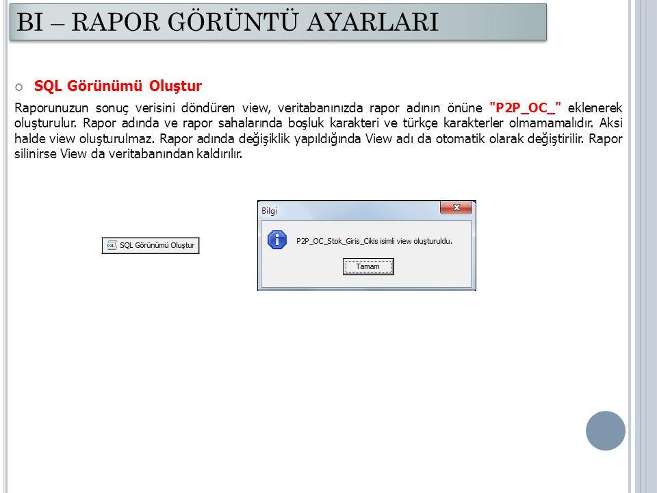 SQL Görünümü Oluştur Raporunuzun sonuç verisini döndüren view, veritabanınızda rapor adının önüne