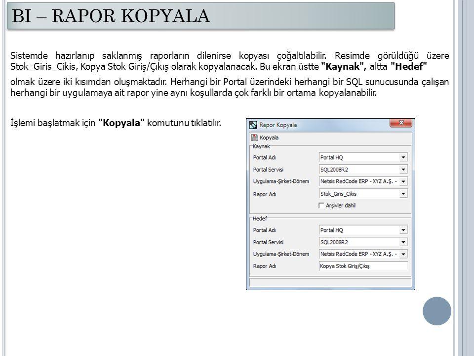 Sistemde hazırlanıp saklanmış raporların dilenirse kopyası çoğaltılabilir. Resimde görüldüğü üzere Stok_Giris_Cikis, Kopya Stok Giriş/Çıkış olarak kop