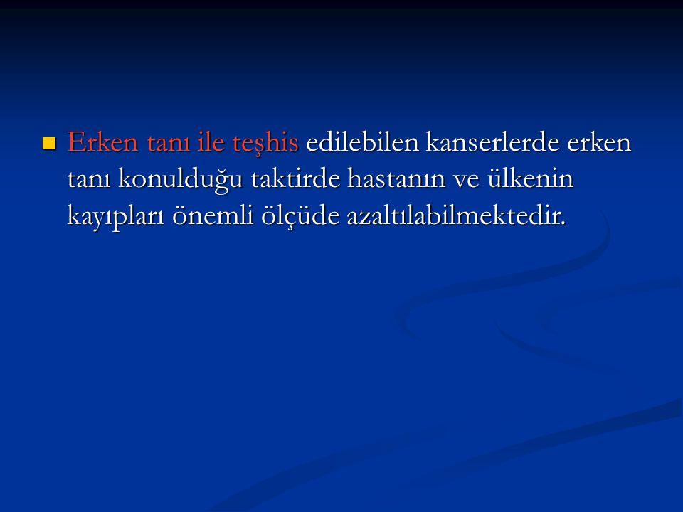  Erişkinlerde her yıl 100000 nüfus için 150-300 kişi kansere yakalanır. Türkiye'de her yıl 150 bin kişinin kansere yakalandığı tahmin edilmektedir. K