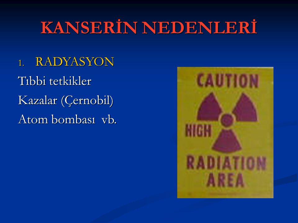 KANSERİN NEDENLERİ 1. RADYASYON Tıbbi tetkikler Kazalar (Çernobil) Atom bombası vb.
