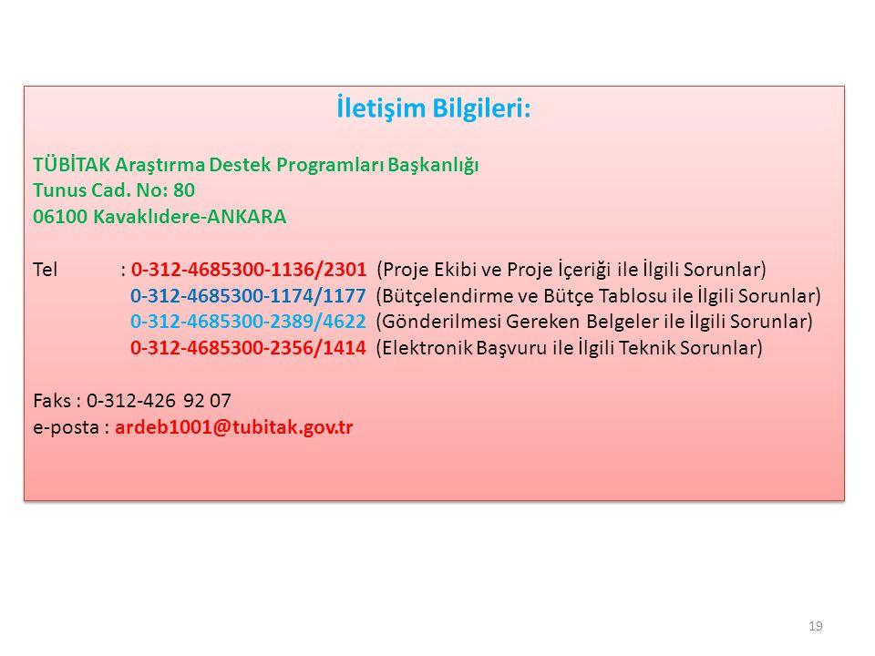 İletişim Bilgileri: TÜBİTAK Araştırma Destek Programları Başkanlığı Tunus Cad. No: 80 06100 Kavaklıdere-ANKARA Tel : 0-312-4685300-1136/2301 (Proje Ek