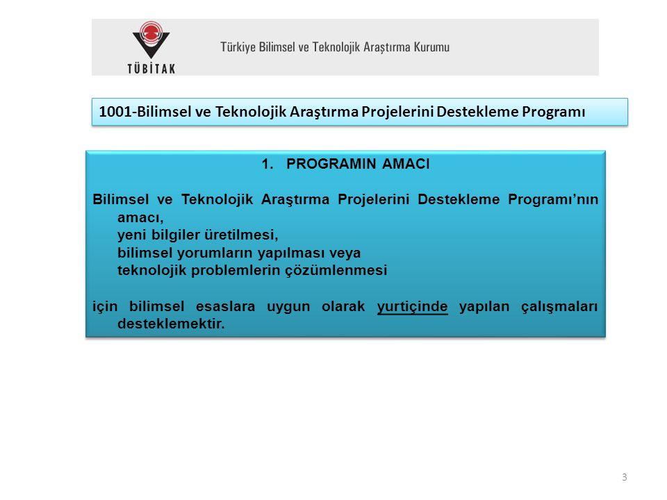 1001-Bilimsel ve Teknolojik Araştırma Projelerini Destekleme Programı 1.PROGRAMIN AMACI Bilimsel ve Teknolojik Araştırma Projelerini Destekleme Progra