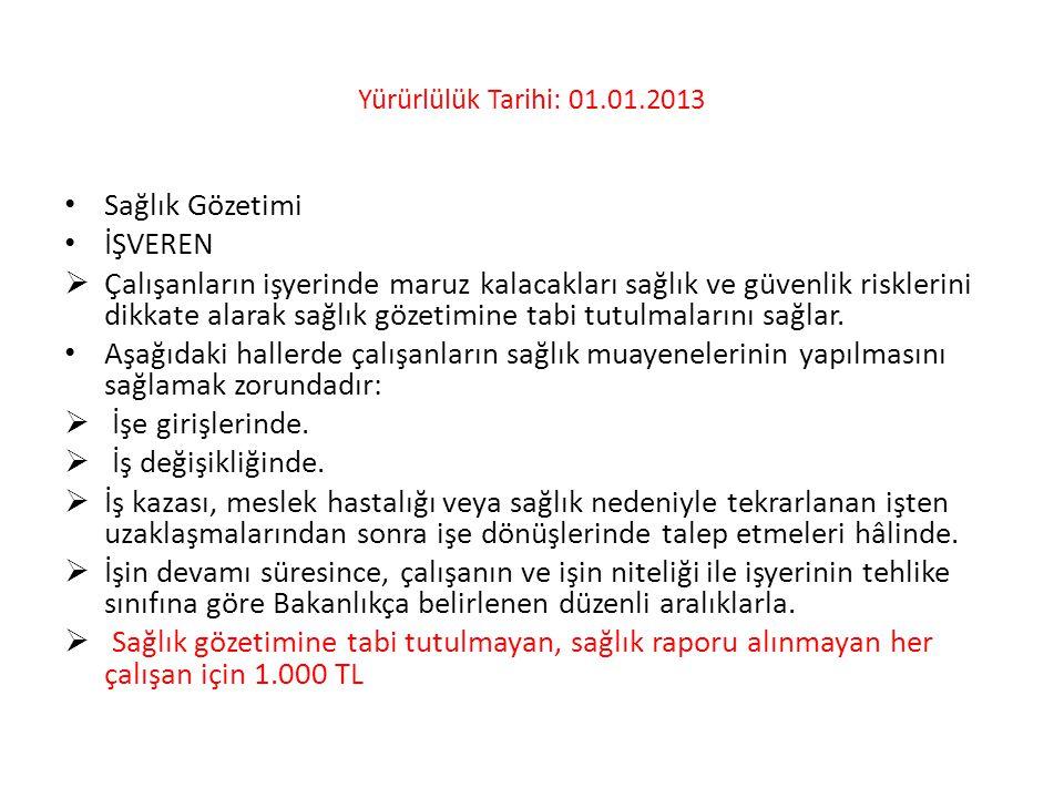 Yürürlülük Tarihi: 01.01.2013 • Sağlık Gözetimi • İŞVEREN  Çalışanların işyerinde maruz kalacakları sağlık ve güvenlik risklerini dikkate alarak sağl