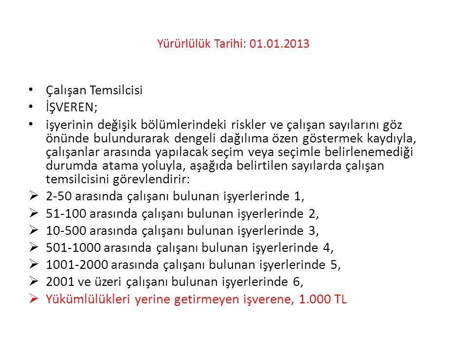 Yürürlülük Tarihi: 01.01.2013 • Çalışan Temsilcisi • İŞVEREN; • işyerinin değişik bölümlerindeki riskler ve çalışan sayılarını göz önünde bulundurarak