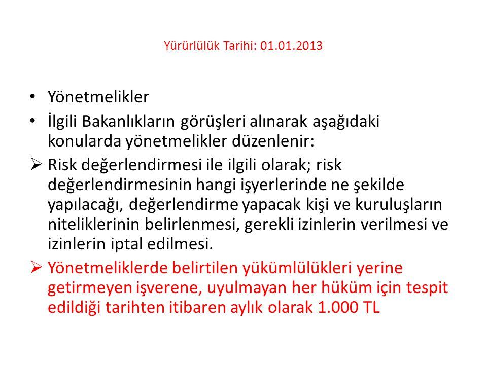 Yürürlülük Tarihi: 01.01.2013 • Yönetmelikler • İlgili Bakanlıkların görüşleri alınarak aşağıdaki konularda yönetmelikler düzenlenir:  Risk değerlend