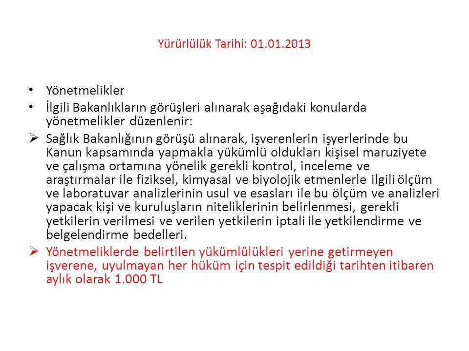 Yürürlülük Tarihi: 01.01.2013 • Yönetmelikler • İlgili Bakanlıkların görüşleri alınarak aşağıdaki konularda yönetmelikler düzenlenir:  Sağlık Bakanlı