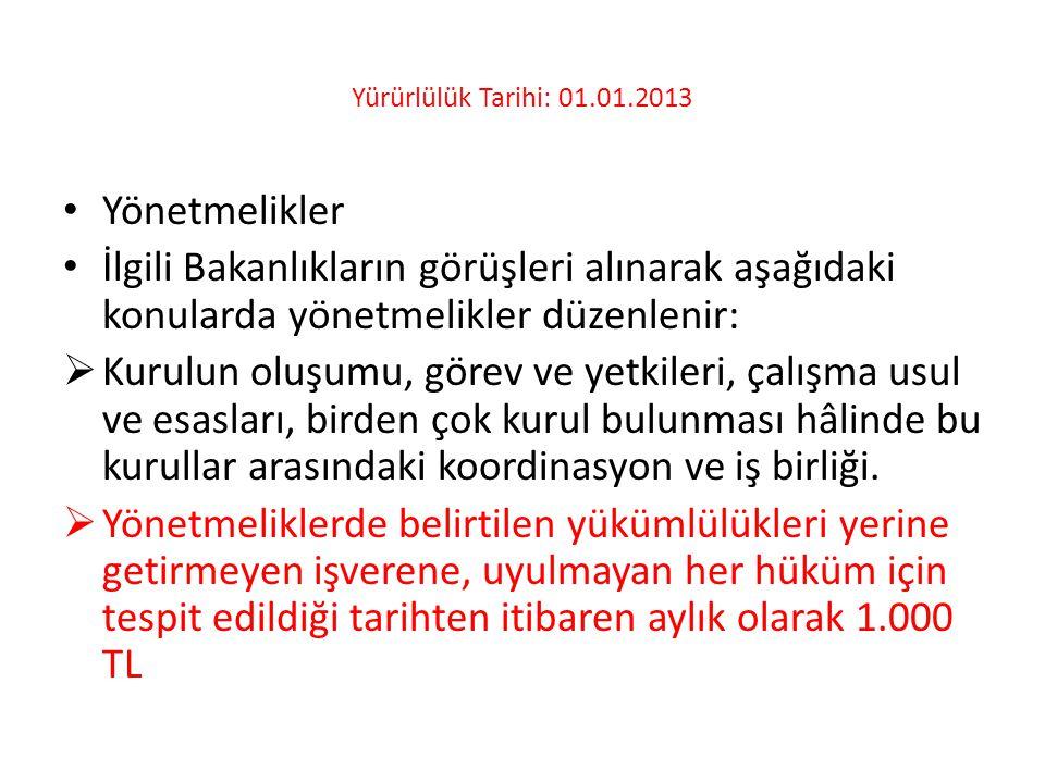 Yürürlülük Tarihi: 01.01.2013 • Yönetmelikler • İlgili Bakanlıkların görüşleri alınarak aşağıdaki konularda yönetmelikler düzenlenir:  Kurulun oluşum