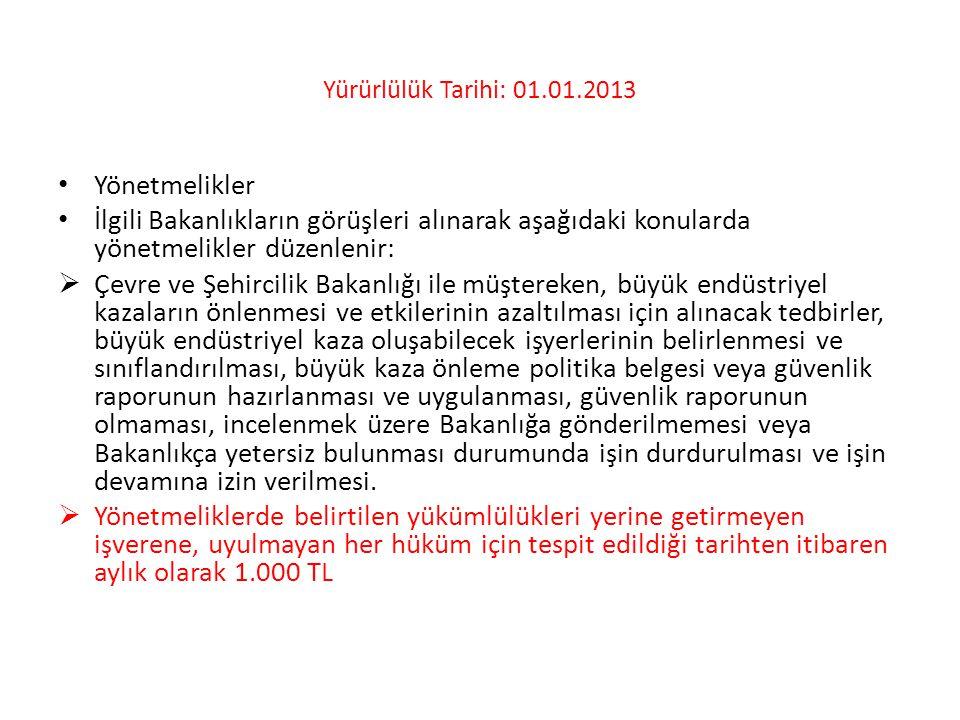 Yürürlülük Tarihi: 01.01.2013 • Yönetmelikler • İlgili Bakanlıkların görüşleri alınarak aşağıdaki konularda yönetmelikler düzenlenir:  Çevre ve Şehir