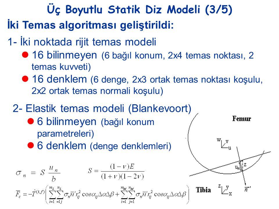 Üç Boyutlu Statik Diz Modeli (3/5) İki Temas algoritması geliştirildi: 1- İki noktada rijit temas modeli  16 bilinmeyen (6 bağıl konum, 2x4 temas nok