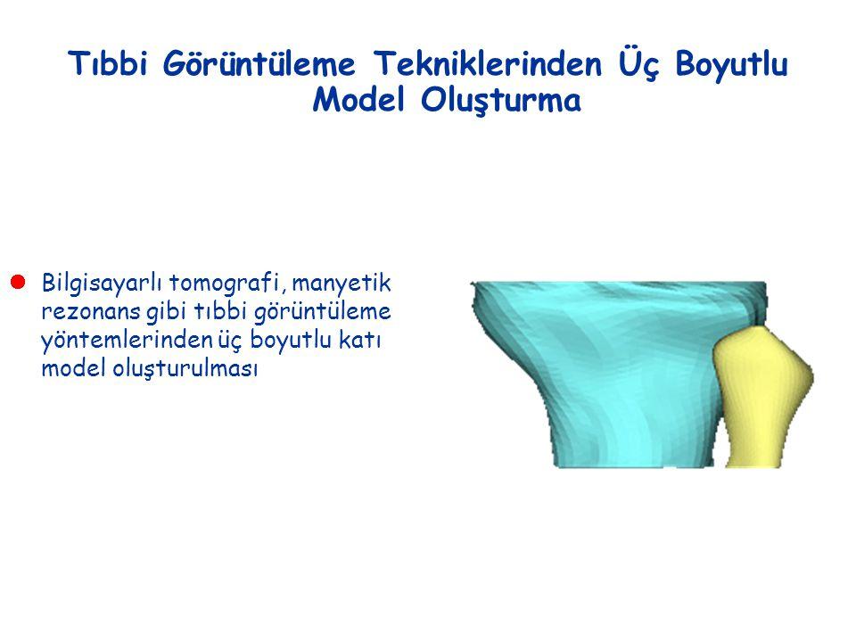 Tıbbi Görüntüleme Tekniklerinden Üç Boyutlu Model Oluşturma  Bilgisayarlı tomografi, manyetik rezonans gibi tıbbi görüntüleme yöntemlerinden üç boyut