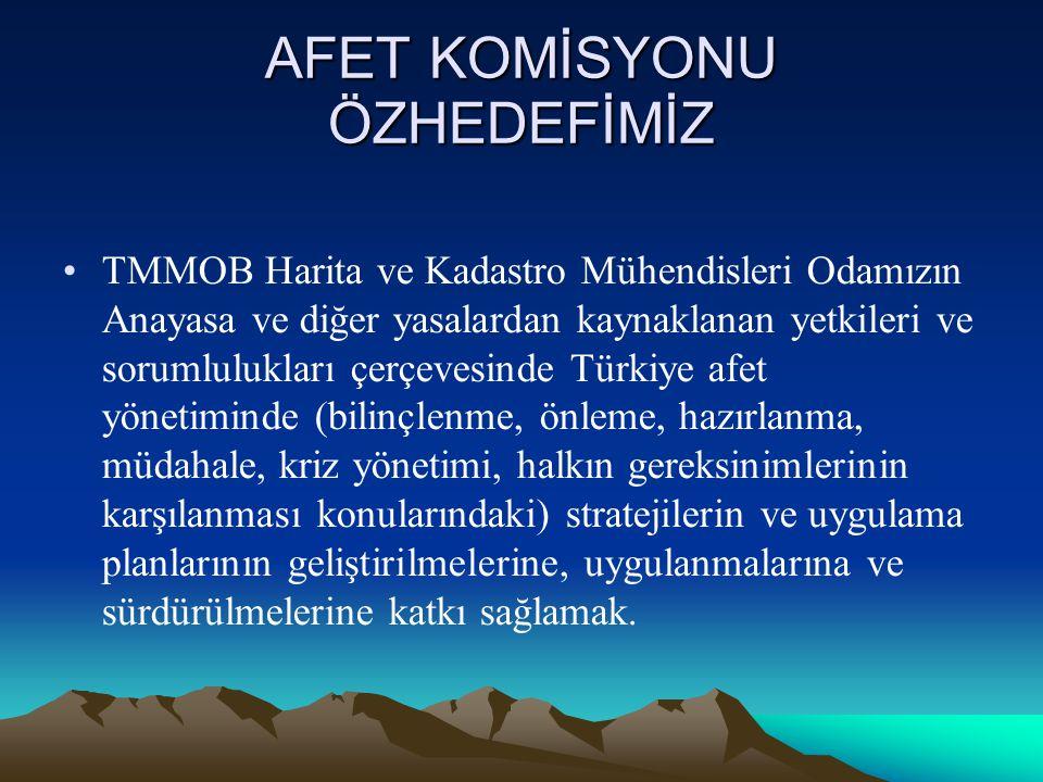 AFET KOMİSYONU ÖZHEDEFİMİZ •TMMOB Harita ve Kadastro Mühendisleri Odamızın Anayasa ve diğer yasalardan kaynaklanan yetkileri ve sorumlulukları çerçevesinde Türkiye afet yönetiminde (bilinçlenme, önleme, hazırlanma, müdahale, kriz yönetimi, halkın gereksinimlerinin karşılanması konularındaki) stratejilerin ve uygulama planlarının geliştirilmelerine, uygulanmalarına ve sürdürülmelerine katkı sağlamak.