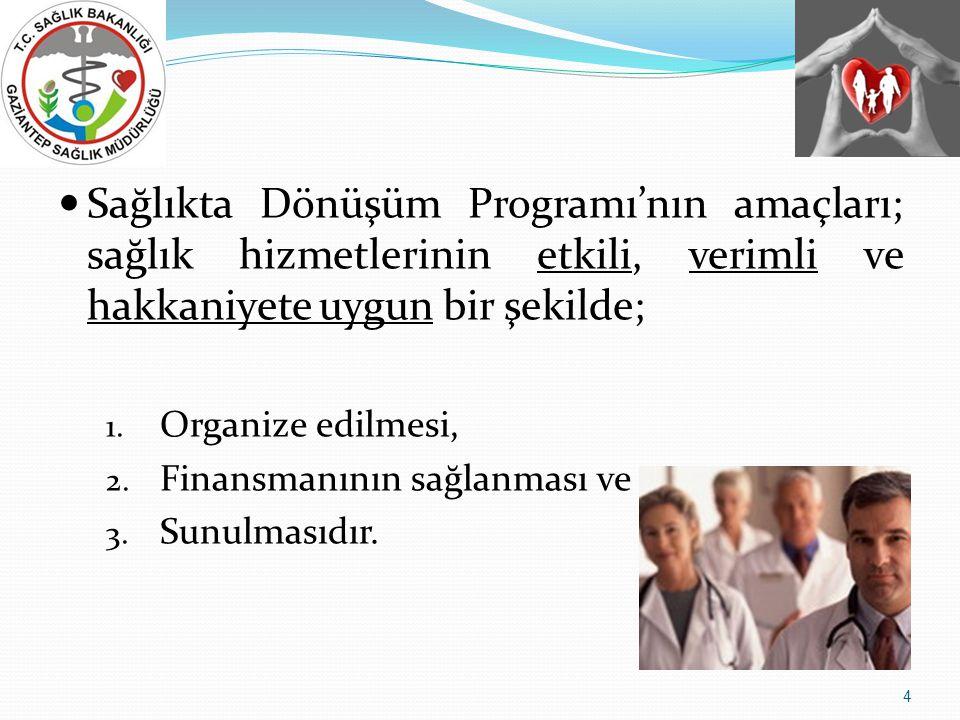  Sağlıkta Dönüşüm Programı'nın amaçları; sağlık hizmetlerinin etkili, verimli ve hakkaniyete uygun bir şekilde; 1.
