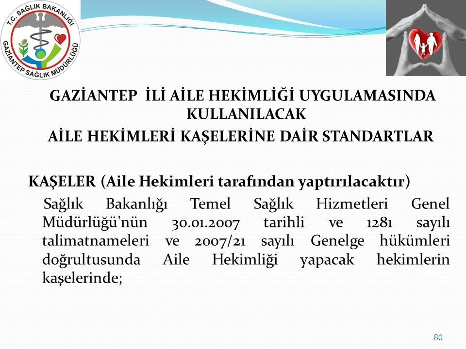 GAZİANTEP İLİ AİLE HEKİMLİĞİ UYGULAMASINDA KULLANILACAK AİLE HEKİMLERİ KAŞELERİNE DAİR STANDARTLAR KAŞELER (Aile Hekimleri tarafından yaptırılacaktır) Sağlık Bakanlığı Temel Sağlık Hizmetleri Genel Müdürlüğü nün 30.01.2007 tarihli ve 1281 sayılı talimatnameleri ve 2007/21 sayılı Genelge hükümleri doğrultusunda Aile Hekimliği yapacak hekimlerin kaşelerinde; 80