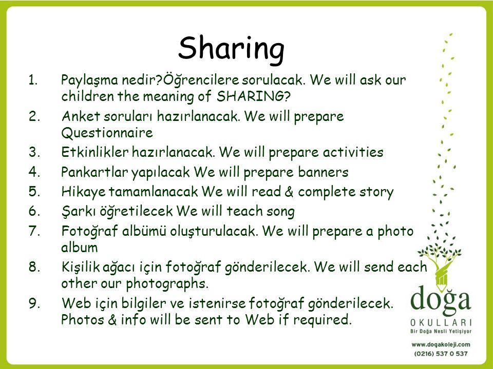 Sharing 1.Paylaşma nedir?Öğrencilere sorulacak. We will ask our children the meaning of SHARING? 2.Anket soruları hazırlanacak. We will prepare Questi