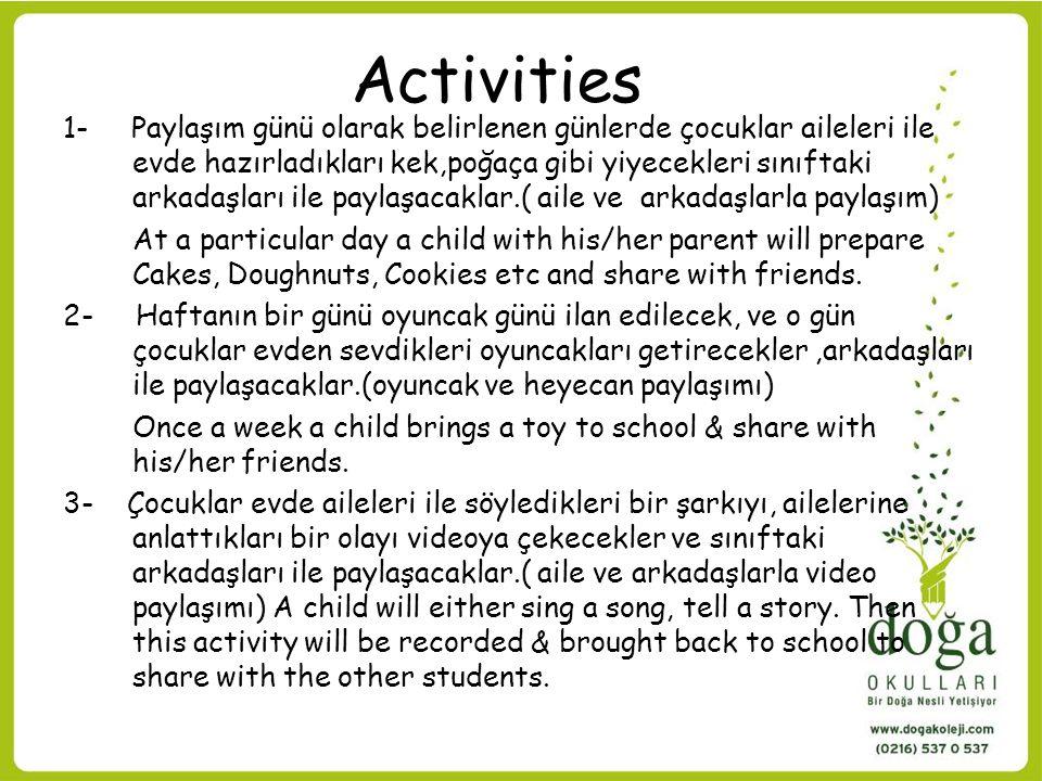 Activities 1- Paylaşım günü olarak belirlenen günlerde çocuklar aileleri ile evde hazırladıkları kek,poğaça gibi yiyecekleri sınıftaki arkadaşları ile paylaşacaklar.( aile ve arkadaşlarla paylaşım) At a particular day a child with his/her parent will prepare Cakes, Doughnuts, Cookies etc and share with friends.