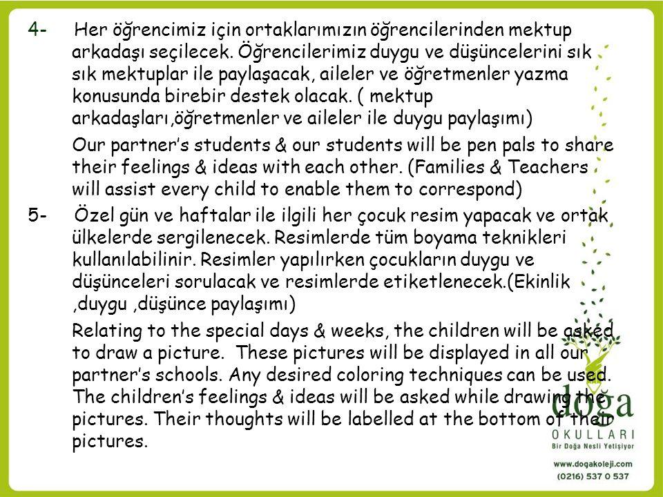 6- Öğrencilerin; kulanmadıkları giysi ve oyuncaklar, ihtiyacı olan başka çocuklarla paylaşmaları için kampanyalar düzenlenecek.