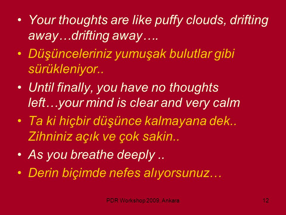 PDR Workshop 2009, Ankara12 •Your thoughts are like puffy clouds, drifting away…drifting away…. •Düşünceleriniz yumuşak bulutlar gibi sürükleniyor.. •