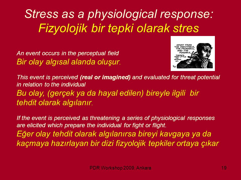 PDR Workshop 2009, Ankara19 Stress as a physiological response: Fizyolojik bir tepki olarak stres An event occurs in the perceptual field Bir olay alg