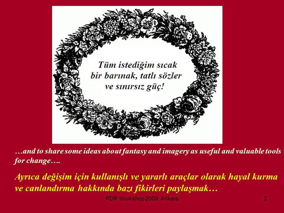 PDR Workshop 2009, Ankara33 Fantasy is: Hayal Natural normal inner experience Normal ve doğal bir yaşantıdır.