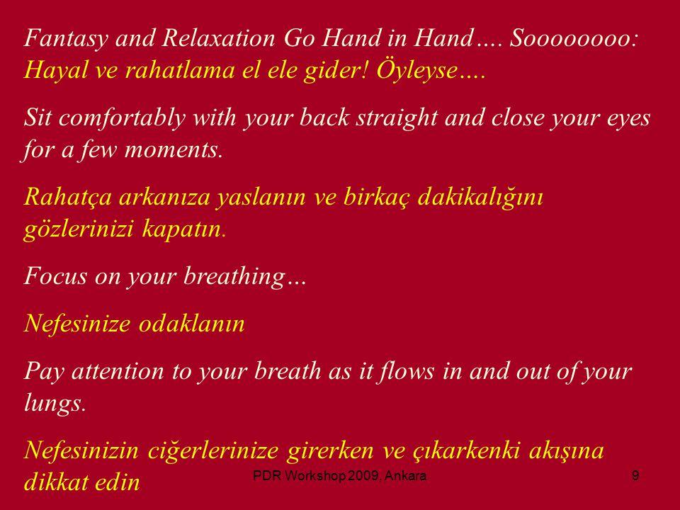PDR Workshop 2009, Ankara10 Slowly and rhythmically.