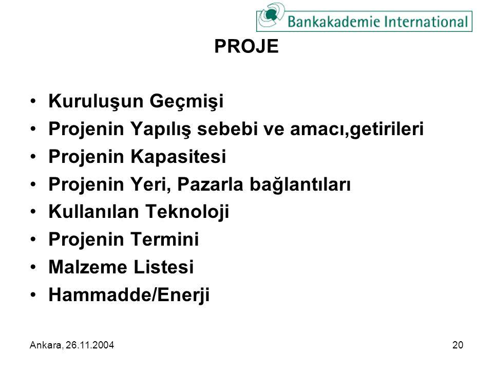 Ankara, 26.11.200420 PROJE •Kuruluşun Geçmişi •Projenin Yapılış sebebi ve amacı,getirileri •Projenin Kapasitesi •Projenin Yeri, Pazarla bağlantıları •Kullanılan Teknoloji •Projenin Termini •Malzeme Listesi •Hammadde/Enerji