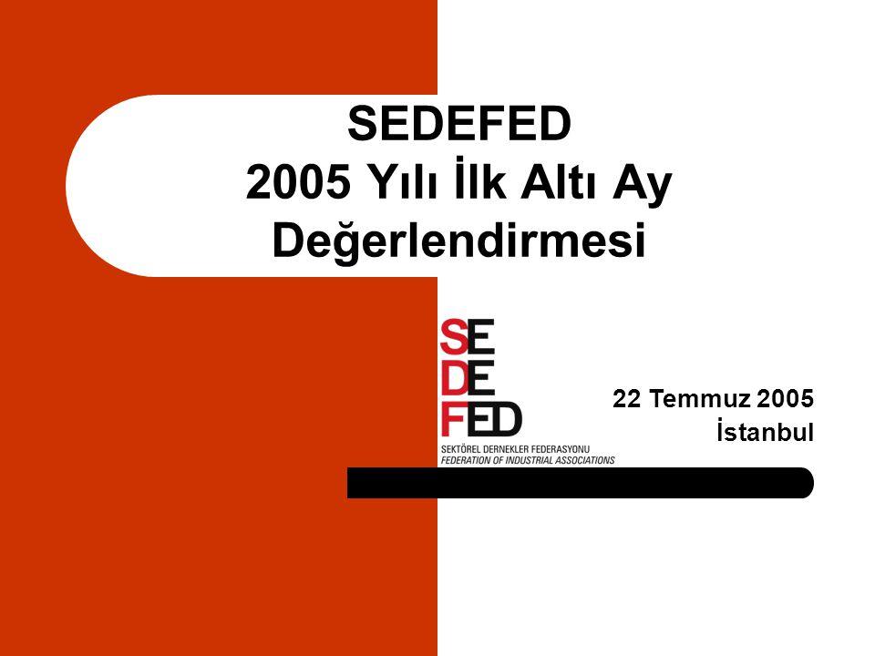 SEDEFED 2005 Yılı İlk Altı Ay Değerlendirmesi 22 Temmuz 2005 İstanbul