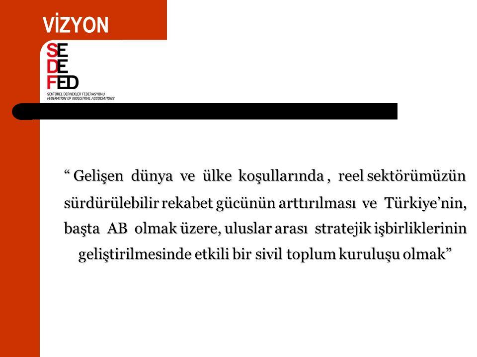 Gelişen dünya ve ülke koşullarında, reel sektörümüzün sürdürülebilir rekabet gücünün arttırılması ve Türkiye'nin, başta AB olmak üzere, uluslar arası stratejik işbirliklerinin geliştirilmesinde etkili bir sivil toplum kuruluşu olmak VİZYON