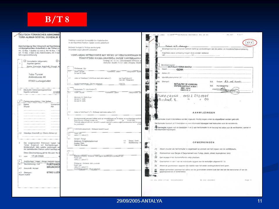 1129/09/2005-ANTALYA T/A 11N/TUR 111B/T 8