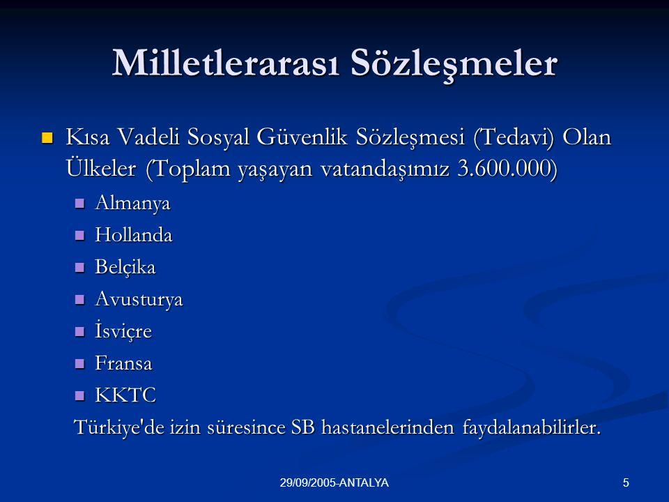 529/09/2005-ANTALYA Milletlerarası Sözleşmeler  Kısa Vadeli Sosyal Güvenlik Sözleşmesi (Tedavi) Olan Ülkeler (Toplam yaşayan vatandaşımız 3.600.000)