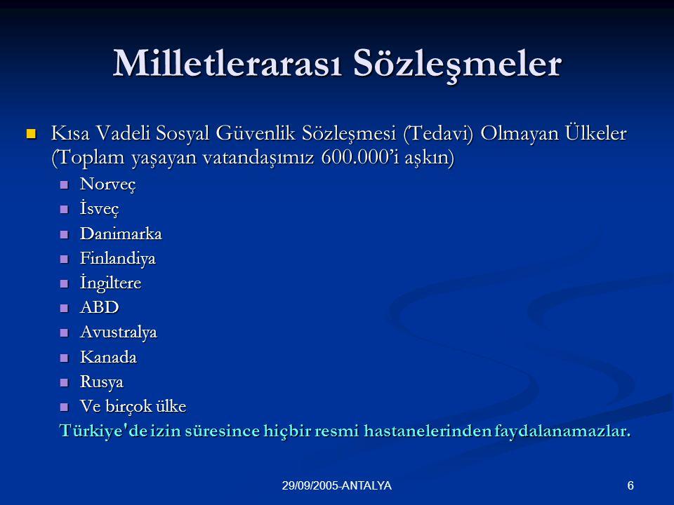 629/09/2005-ANTALYA Milletlerarası Sözleşmeler  Kısa Vadeli Sosyal Güvenlik Sözleşmesi (Tedavi) Olmayan Ülkeler (Toplam yaşayan vatandaşımız 600.000'