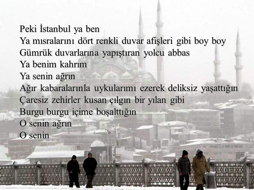 Ulan İstanbul sen misin Senin ellerin mi bu eller Ulan bu gemiler senin gemilerin mi Minarelerini kürdan gibi dişlerinin arasında Liman liman götüren