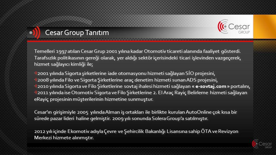 Cesar Group Tanıtım Temelleri 1997 atılan Cesar Grup 2001 yılına kadar Otomotiv ticareti alanında faaliyet gösterdi. Tarafsızlık politikasının gereği