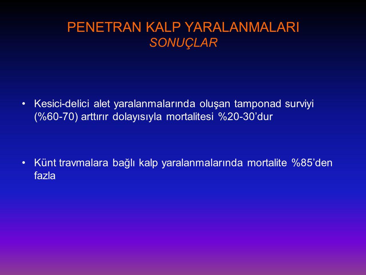 PENETRAN KALP YARALANMALARI SONUÇLAR •Kesici-delici alet yaralanmalarında oluşan tamponad surviyi (%60-70) arttırır dolayısıyla mortalitesi %20-30'dur