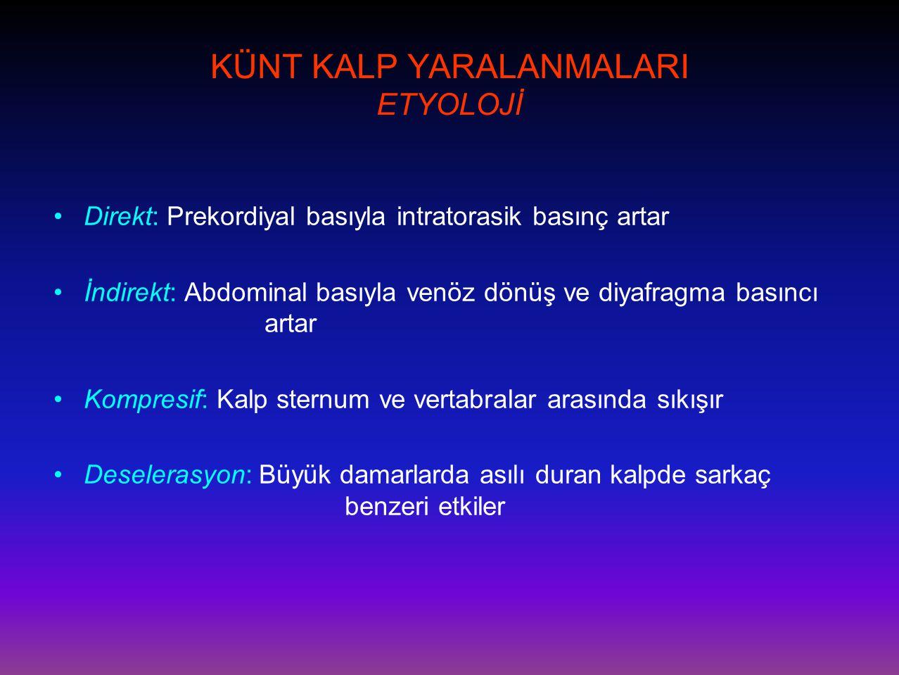 KÜNT KALP YARALANMALARI ETYOLOJİ •Direkt: Prekordiyal basıyla intratorasik basınç artar •İndirekt: Abdominal basıyla venöz dönüş ve diyafragma basıncı