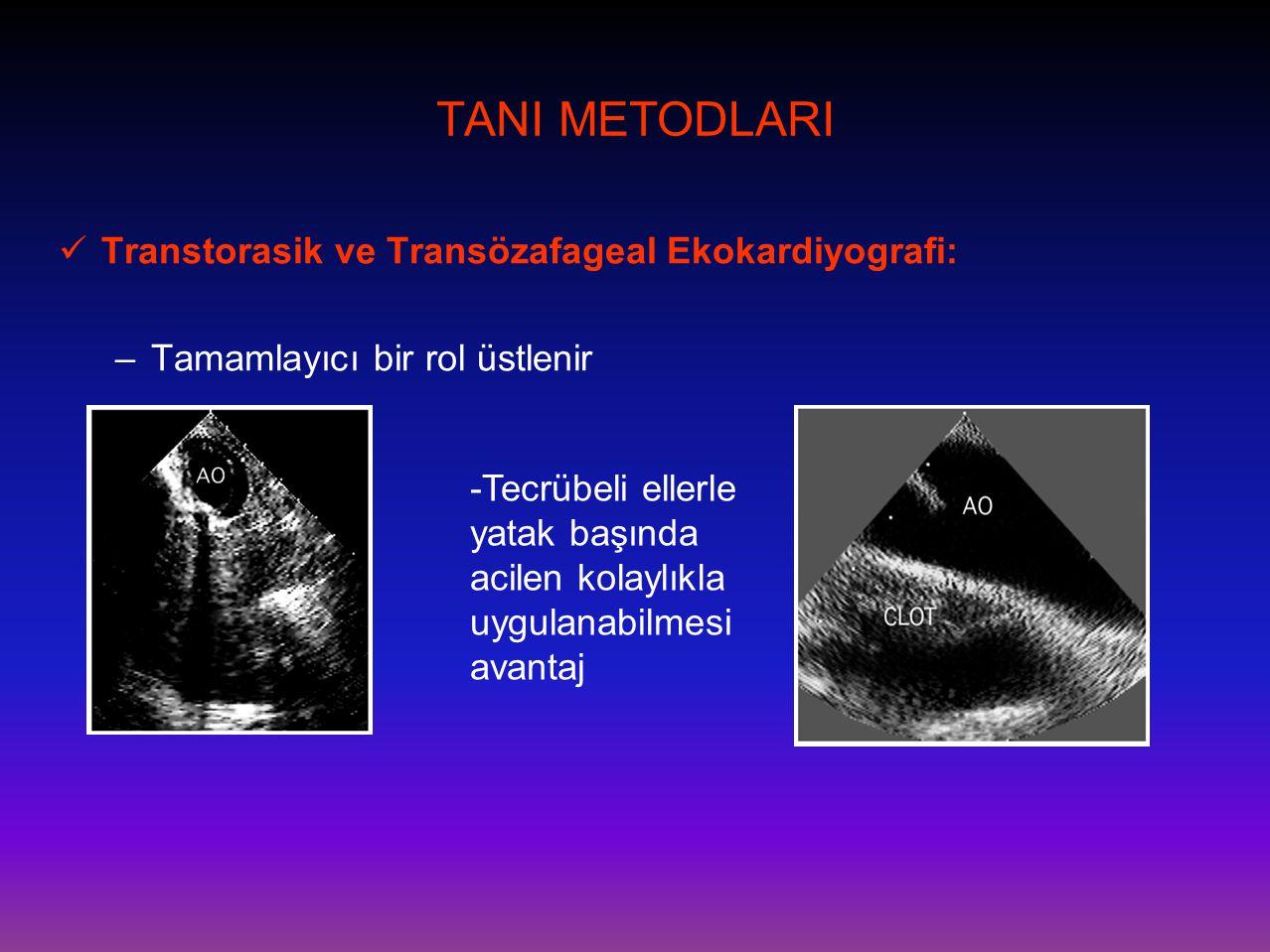 TANI METODLARI  Transtorasik ve Transözafageal Ekokardiyografi: –Tamamlayıcı bir rol üstlenir -Tecrübeli ellerle yatak başında acilen kolaylıkla uygu