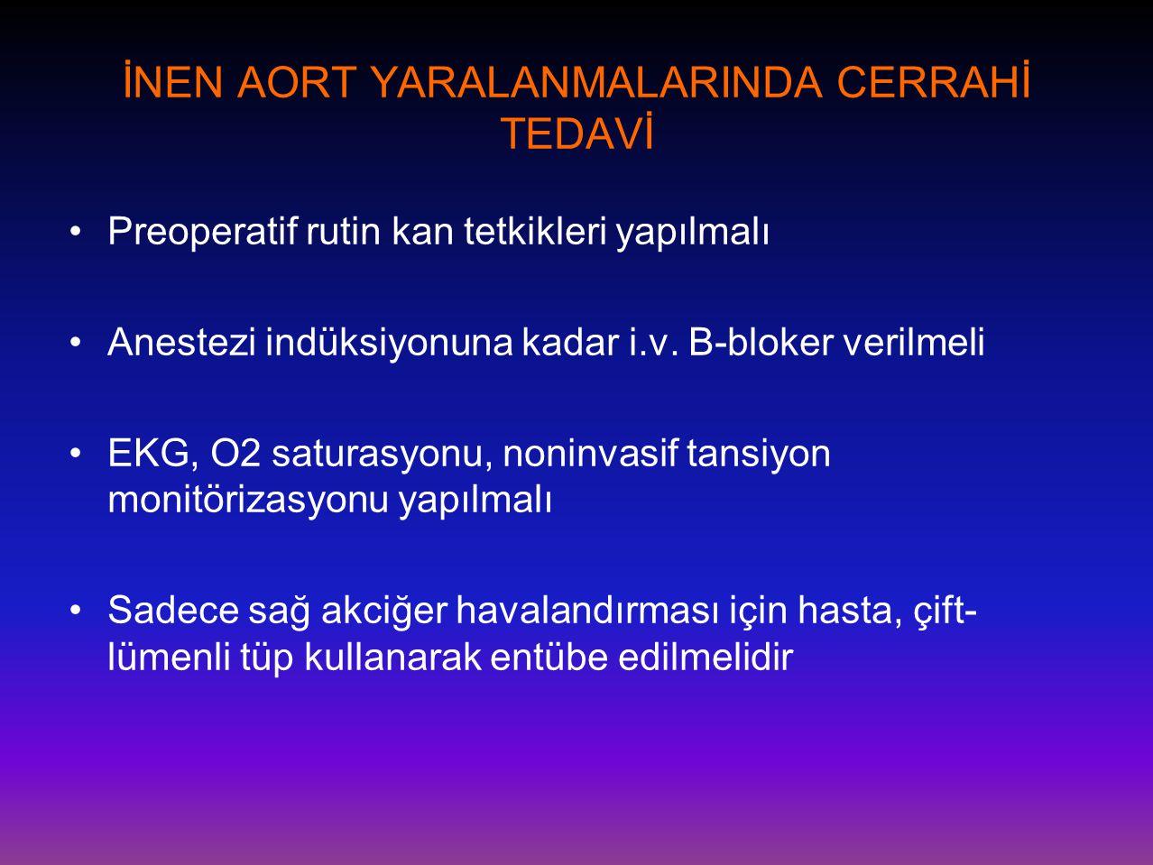 İNEN AORT YARALANMALARINDA CERRAHİ TEDAVİ •Preoperatif rutin kan tetkikleri yapılmalı •Anestezi indüksiyonuna kadar i.v. B-bloker verilmeli •EKG, O2 s