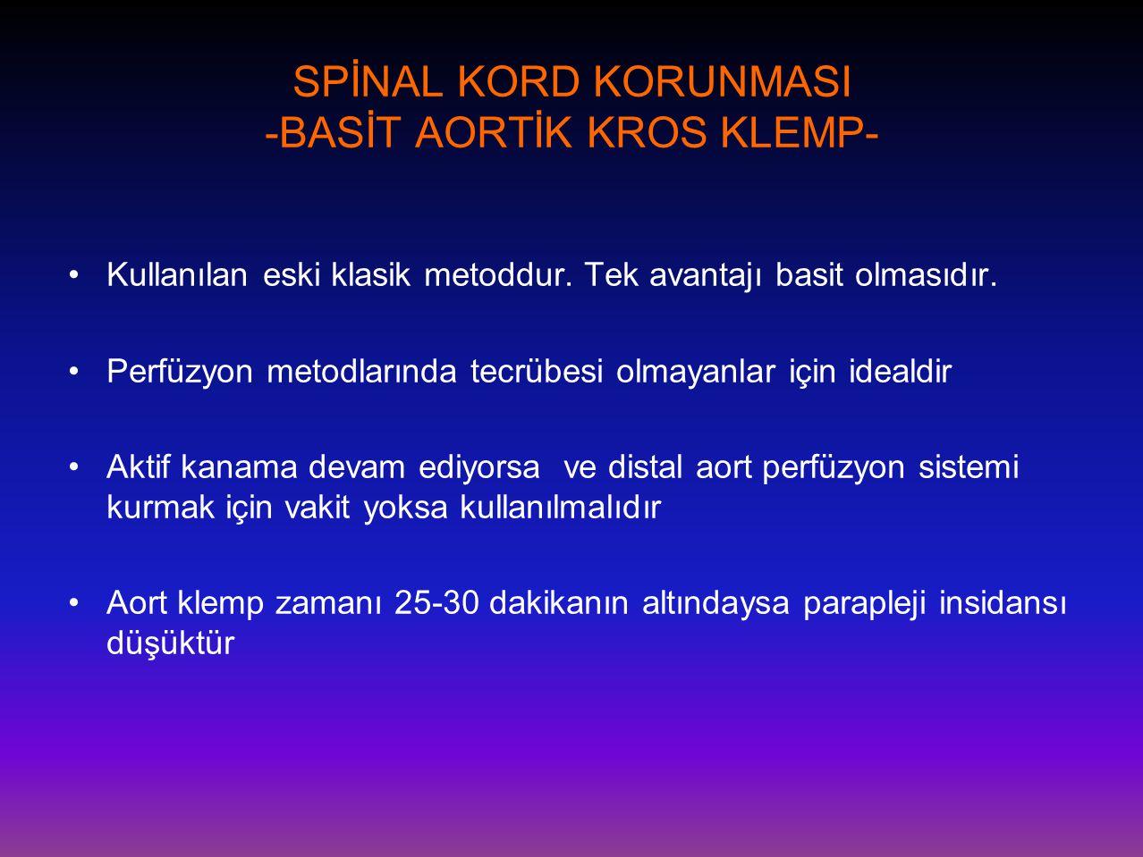 SPİNAL KORD KORUNMASI -BASİT AORTİK KROS KLEMP- •Kullanılan eski klasik metoddur. Tek avantajı basit olmasıdır. •Perfüzyon metodlarında tecrübesi olma